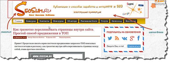 Шапка блога seoslim.ru