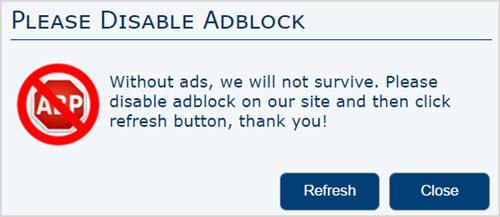 Отключите AdBlock