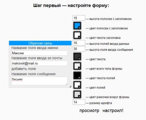 html форма связи