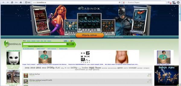 Сайт с рекламой Torrentino.ru