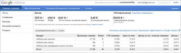 пример моего заработка на Google Adsense