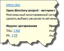 ТИЦ и PR каталога