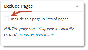 "виджет ""Exclude Pages"""