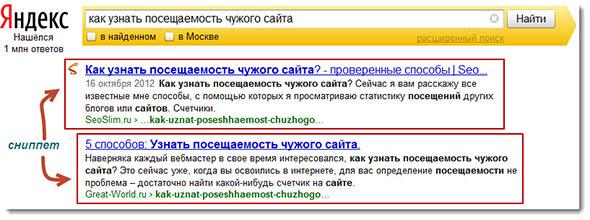 Отображение сниппета в Яндексе