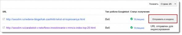 отправить страницу в индекс google
