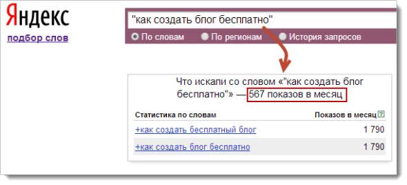 Яндекс подбор слов