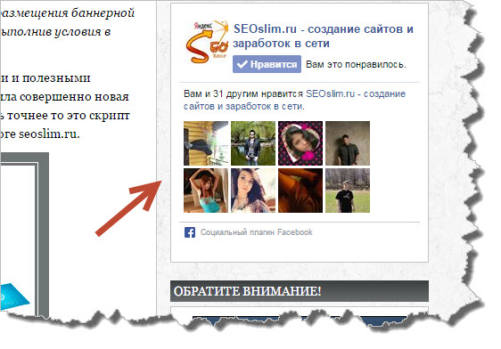Виджет Фейсбук