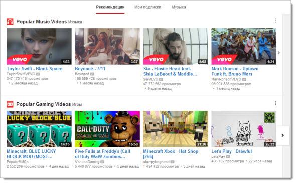 YouTube Рекомендации