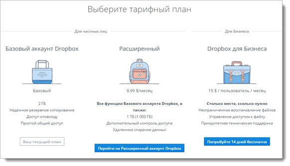 тарифный план Dropbox