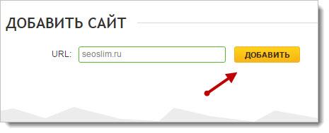 указываем адрес добавляемого сайта в систему