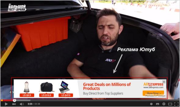 Реклама от Google Adsense в видео