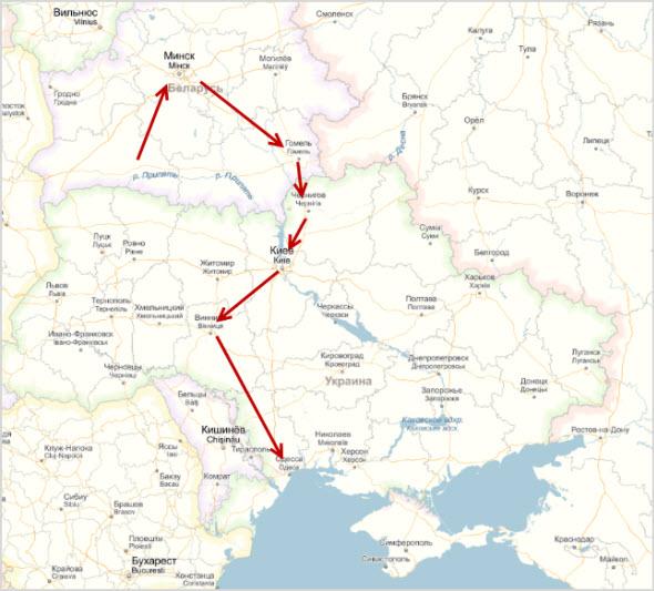 карта дороги до Одессы по железной дороге