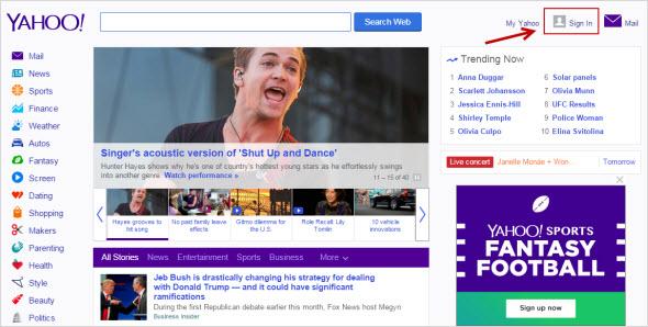 основная страница Yahoo
