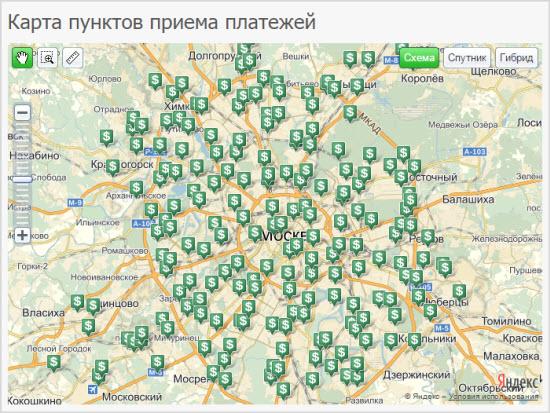 Карта пунктов приема платежей