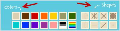 панель выбора цвета и узора