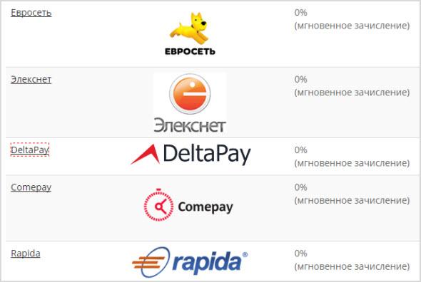 оплата и пополнение через платежные терминалы