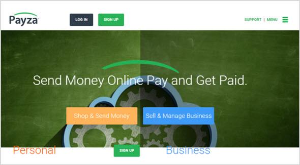 главная страница платежной системы Payza
