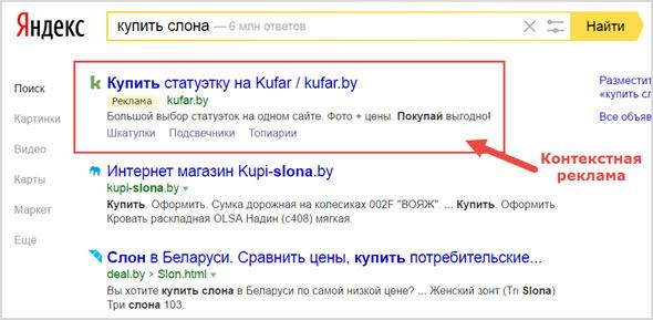 пример контекстной рекламы в поиске Яндекс