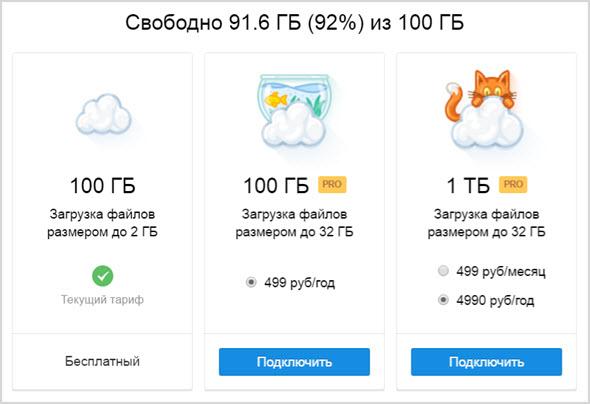 тарифы на облачное хранилище Майл.ру