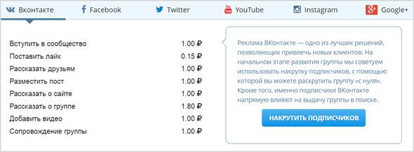 услуги и цены на Vktarget