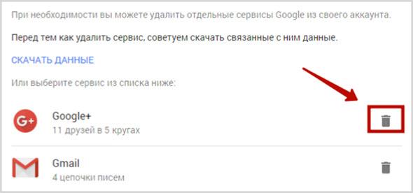 удаление почты Gmail и соцсети Google Plus