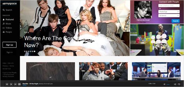 главная страница MySpace