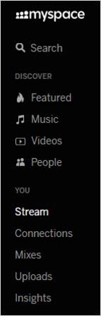 меню социальное сети myspace