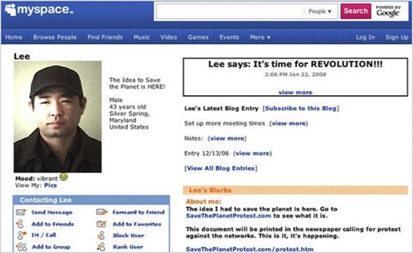 страница MySpace