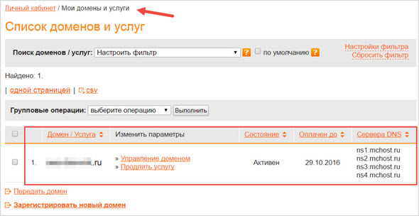 домен в аккаунте вебнамес