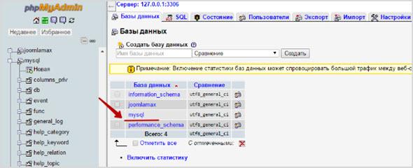 настройка базы данных на сервере