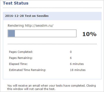 ход выполнения проверки в browsera.com