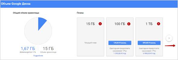 покупка места на сервере Гугл Диск