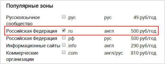 цена на домены у WebNames