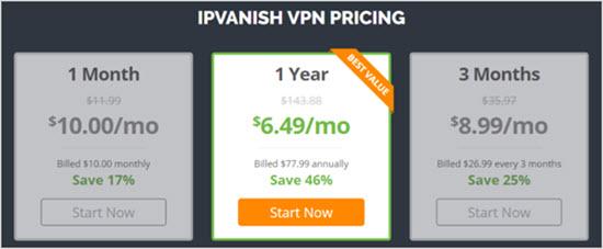 тарифы IP Vanish