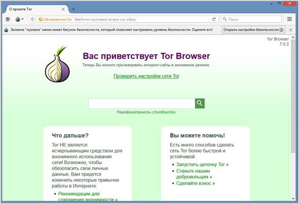 Внешний вид браузера тор