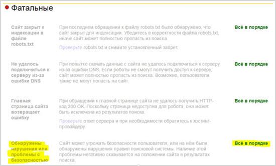 ошибки в Яндекс Вебмастер