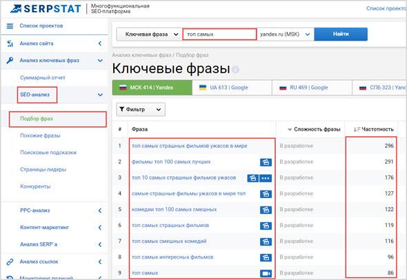 подбор слов в Serpstat