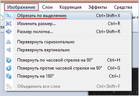 обрезка по выделению в Paint.NET