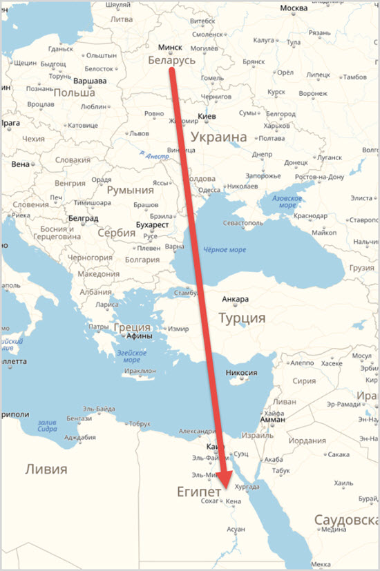 Расстояние от Беларуси до Египта