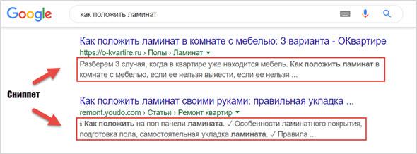 Пример снипета в Гугл
