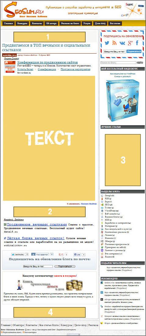 Реклама на блоге seoslim.ru