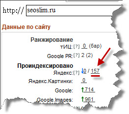 данные по сайту