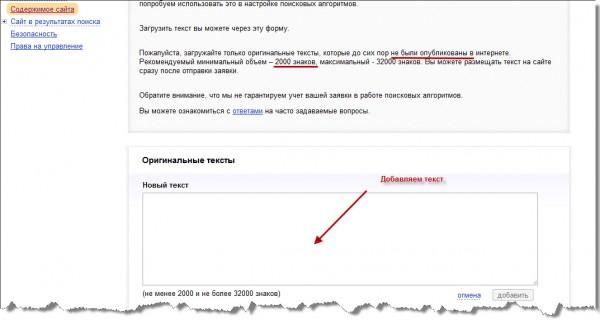 защтщаем текст в Яндексе
