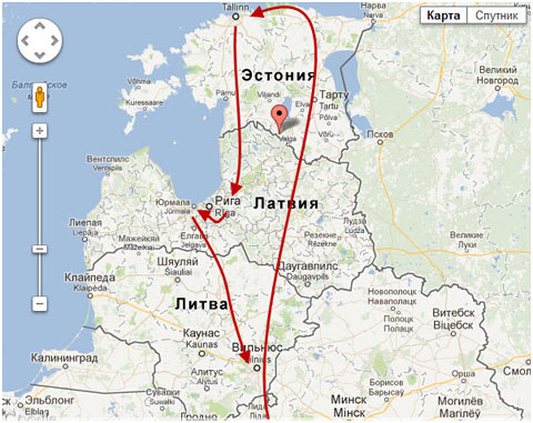 путешествие в прибалтику карта