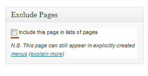 виджет exclude pages