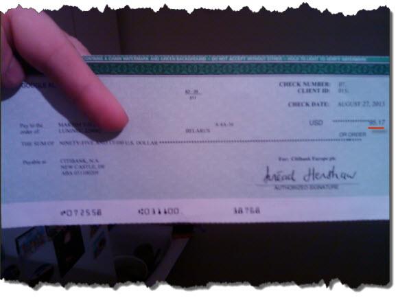 Первый чек от Google Adsense