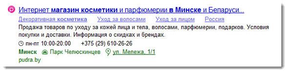 Пример расширенного сниппета в Яндекс
