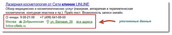 Уточненные данные сайта в Яндексе