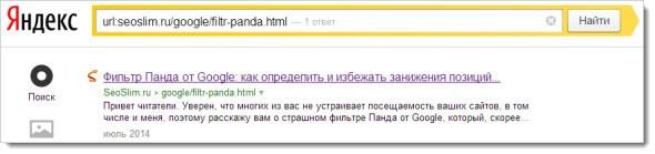 Проверка конкретной страницы в Яндекс