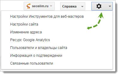 Настройки сайта в Webmaster